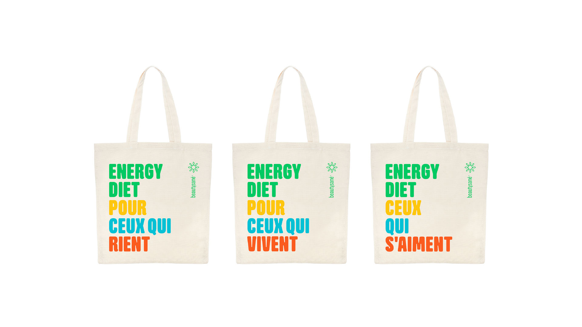 White tote bags Beautysané product line